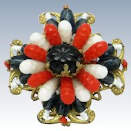 Signed MIRIAM HASKELL Patriotic  Art Glass Beads Gold Plated Filigree Brooch