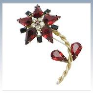 Signed SCHREINER Ruby Crystal Rhinestone Flower Floral Figural Brooch Pin