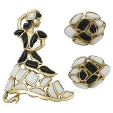 TRIFARI Modern Mosaics Poured Glass Brooch Earring SET Flamenco Fan Dancer Vintage