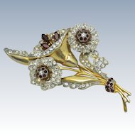 Vintage 1940s Figural Floral Rhinestone Gold Silver Plated After DeRosa