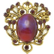 FLORENZA Dragons Breath Opaline Rhinestone Vintage Brooch/Pin and Pendant