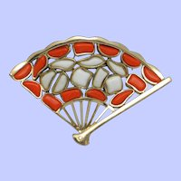 CROWN TRIFARI Modern Mosaics Poured Glass Fan Brooch Pin