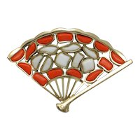 CROWN TRIFARI Modern Mosaics Poured Glass Fan Brooch Pin