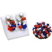 HOBE Patriotic Red White Blue Glass Beads  Brooch Earrings SET