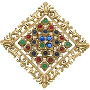 RARE Early CINER Ruby Emerald Sapphire Moghul Glass Cabochon Brooch and Pendant