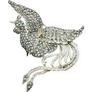 Art Deco STERLING SILVER Marcasite Bird Figural Brooch Pin