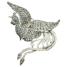 Art Deco STERLING SILVER Marcasite Bird Figural Brooch Pin
