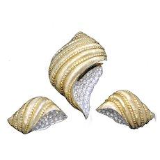 Vintage JOMAZ Figural Seashell Brooch Earrings SET