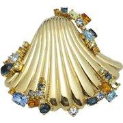 Vintage Rare CINER Jeweled Rhinestone Seashell Brooch Pin
