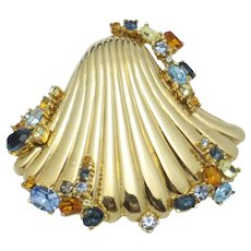 Vintage Rare CINER Jeweled Rhinestone Seashell Brooch Pin
