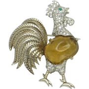 JOMAZ  Vintage Poured Glass Belly Diamante Figural Rooster Pin