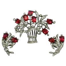 TRIFARI STERLING SET Alfred Philippe Flower Basket Brooch Earrings Vintage 1940s