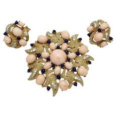 Rare TRIFARI Under the Sea Brooch Earrings SET  Vintage 1960s