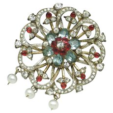 CORO CRAFT STERLING Corocraft Brooch and Pendant  1940s