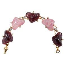 HOBE Mayorka Petals Pink Amethyst Art Glass Rhinestone Bracelet
