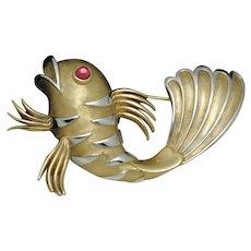 Very Rare CROWN TRIFARI 1960s Figural Striped Fish Brooch Pin