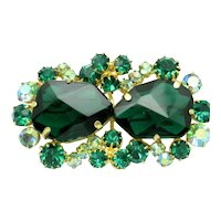 Verified JULIANA D&E  Emerald Glass Rhinestone Vintage Brooch Pin