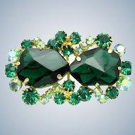 Verified JULIANA D&E  Emerald Glass Rhinestone Vintage Brooch Pin