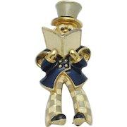 Very Rare JOMAZ Enamel Caroler Figural Brooch Pin