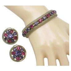 WEISS Vintage Bracelet and Earrings Fuchsia Purple Rhinestone