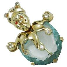 Vintage 1940s MAZER Aqua Glass JESTER Figural Brooch Pin