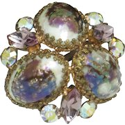 High Quality  French Rhinestone Speckled Art Glass Brooch Pin