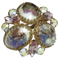 High Quality  French Rhinestone Speckled Art Glass Brooch Pin