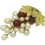 LOUIS ROUSSELET French  Hand Blown Glass Pearl Gilt Leaf Clip Pin