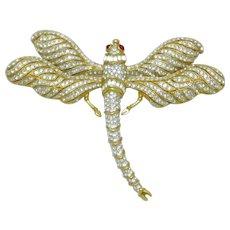 "CINER Diamante Rhinestone Dragonfly Brooch Pin 4.5"" Wingspan"