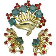 MARCEL BOUCHER  1950s Gold Plated Crystal Fur Clip Pin Earrings Set