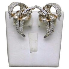 Gorgeous Vintage Reja Diamante 'Jack in the Pulpit' Flower Clip Earrings