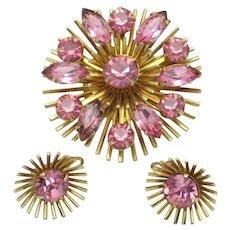 Vintage JUDY LEE  Pink Rhinestone Brooch Earring Set