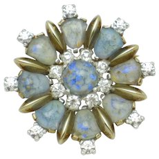 Vintage MAZER BROS Art Glass Rhinestone Brooch Pin