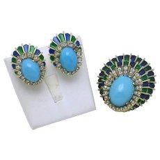 Vintage JOMAZ  Rhinestone Cabochon Rare Brooch Earrings Set