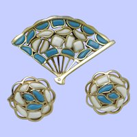 CROWN TRIFARI  1960s Modern Mosaics Brooch Earrings Set