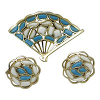 CROWN TRIFARI  1960s Modern Mosaics Brooch Earrings Set