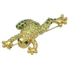 Vintage MONET Peridot Emerald  Crystal Figural Frog Brooch Pin