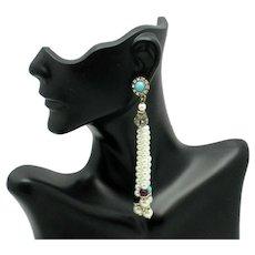 Gorgeous Pierced Shoulder Duster Pearl  Dangle Earrings