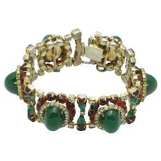 HATTIE CARNEGIE  Emerald Ruby Bullet Cabochon Rhinestone Bracelet