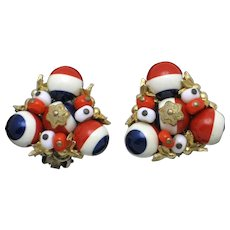 ALICE CAVINESS Patriotic Red White Blue Glass Beads Filigree Clip Earrings
