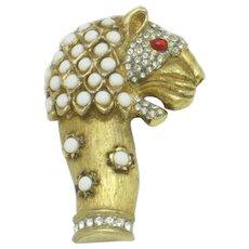 1960s KJL Kenneth Jay Lane Fantasy Lion Brooch Pin