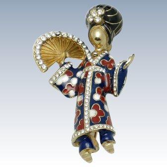 CINER Geisha Figural Brooch Pin Rhinestone Enamel Asian Oriental