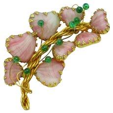 Signed HOBE 1957 Pink Mayorka Petals Brooch Pin JULIO MARSELLA