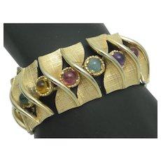 Wide Vintage Signed BOUCHER Glass Cabochon Bracelet