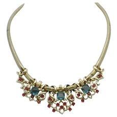 BOUCHER Phrygian Necklace Aquamarine Crystal Ruby Rhinestone
