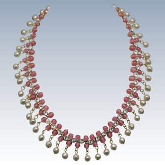MIRIAM HASKELL Necklace Baroque Pearl, Rhinestone, Glass Beads REVERSIBLE