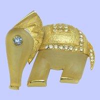 HATTIE CARNEGIE Lucite Elephant Brooch Pin