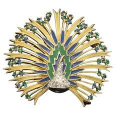 JOMAZ Vintage Figural Peacock Brooch Pin