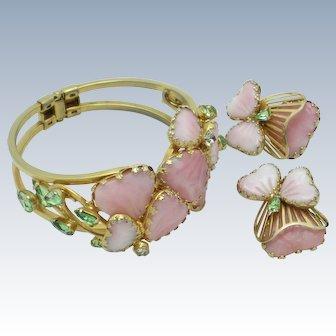 Rare HOBE Mayorka Petals Clamper Bracelet  Earrings Set