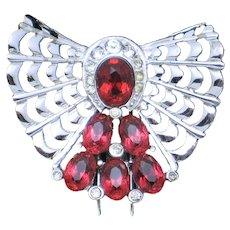 MB BOUCHER Phrygian Ruby Red Rhinestone Clip Pin